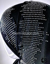 "Black with Silver Rhinestones Acoustic Inspired Design Jersey Shayla Long Rectangle Hijab 30""x70"""