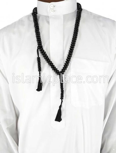 Black - Egyptian Design Wooden Tasbih Prayer Beads