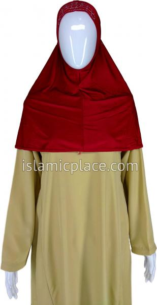 Red - Radiant Hijab Al-Amira Teen to Adult (Large) - Design 7