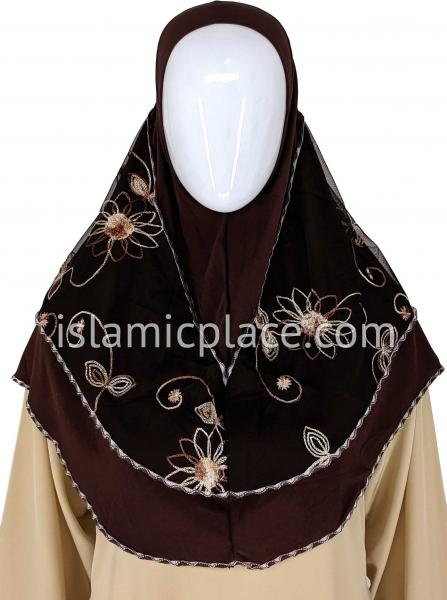 Brown - Floral Sketch Hijab Al-Amira Teen to Adult (Large) - Design 9