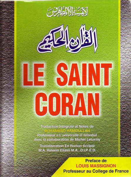 French: Le Saint Coran, (Arabic, French with Roman Transliteration)