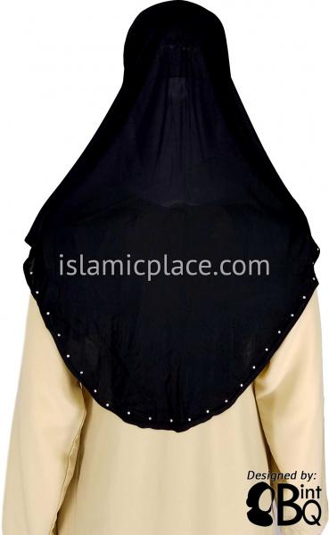 Black Hijab Al-Amira with Silver Rhinestones Teen to Adult (Large) - Design 2