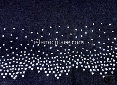 "Black with Silver Rhinestones Starry Night Design Jersey Shayla Long Rectangle Hijab 30""x70"""