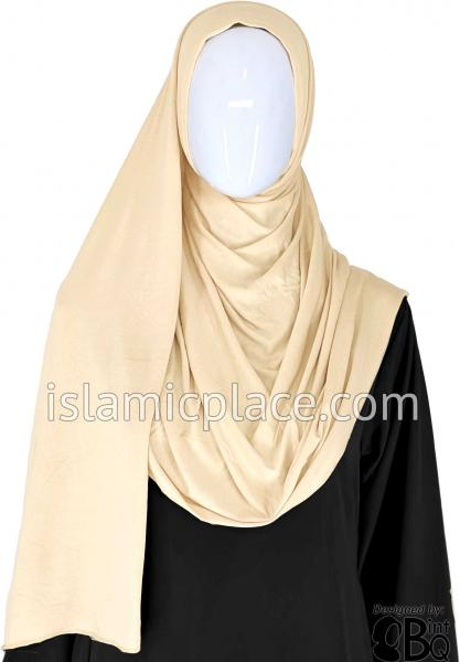 "Cream Plain - Jamila Jersey Shayla Long Rectangle Hijab 30""x70"""