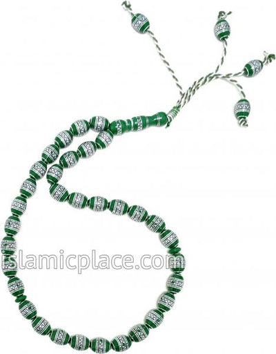 Green and Silver - Moroccan Design Tasbih Prayer Beads