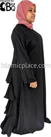 BQ102 Black Abaya with Ruffles