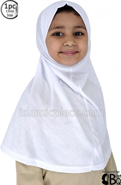 White - Plain Girl size (1-piece) Hijab Al-Amira