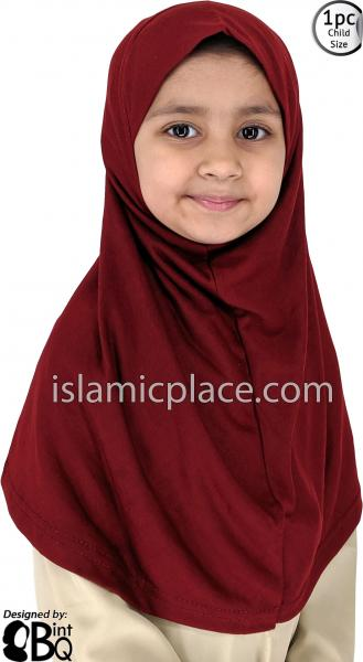 Burgundy - Plain Girl size (1-piece) Hijab Al-Amira