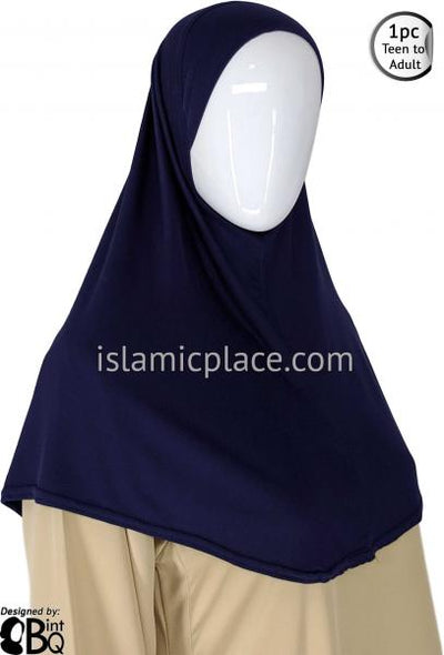 Navy Blue - Plain Teen to Adult (Large) Hijab Al-Amira (1-piece style)