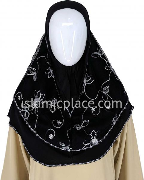 Black - Floral Sketch Hijab Al-Amira Teen to Adult (Large) - Design 9