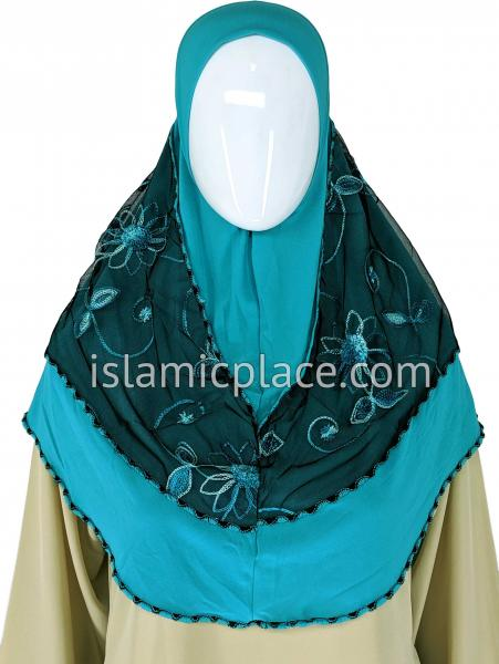 Teal and Turquoise - Floral Sketch Hijab Al-Amira Teen to Adult (Large) - Design 9
