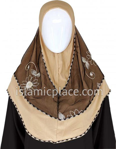 Khaki - Floral Sketch Hijab Al-Amira Teen to Adult (Large) - Design 9