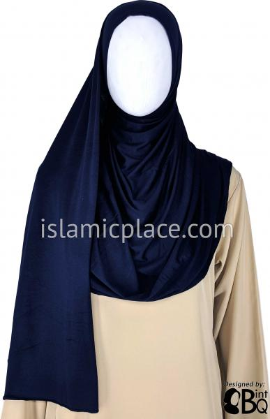 "Navy Blue Plain - Jamila Jersey Shayla Long Rectangle Hijab 30""x70"""