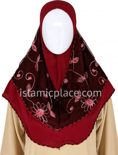 Red and Burgundy - Floral Sketch Hijab Al-Amira Teen to Adult (Large) - Design 9