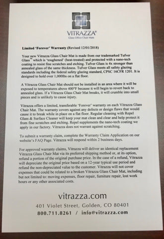 Vitrazza Glass Chair Mats Forever Warranty