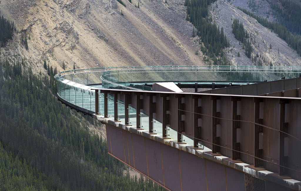 Photo of a glass bottom skywalk in the Canadian Rocky Mountains