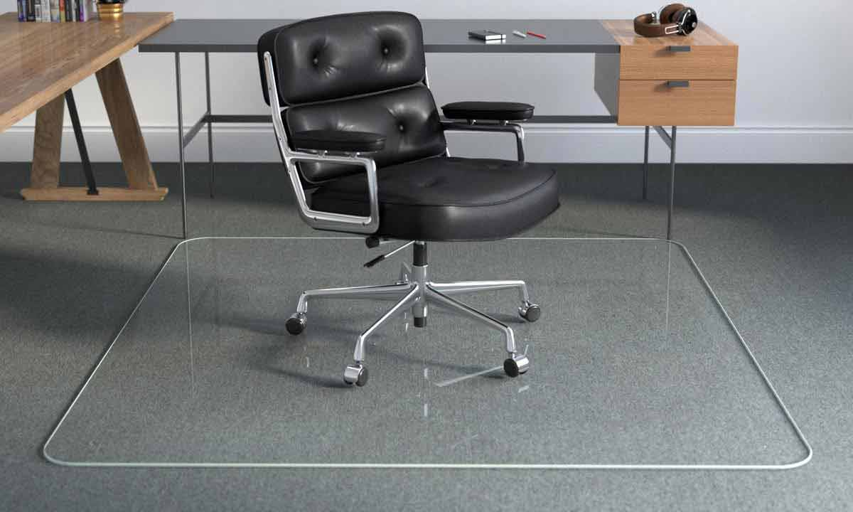 Black Leather Office Chair On Large Glass Office Chair Chair Mat On Carpeting By Modern Desk