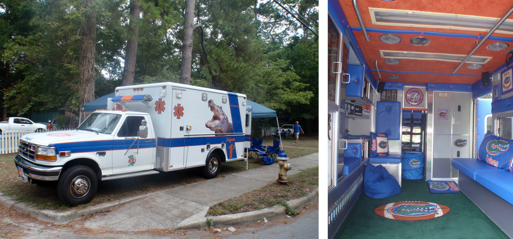 2 photos showing the outside and inside of a Gator themed ambulance