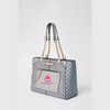 Grey Monogram Zip Front Tote