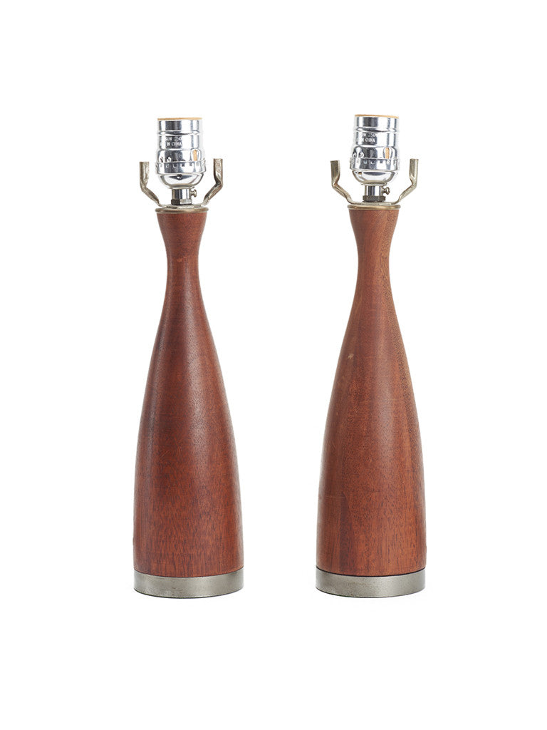 Pair Of Small Spun Walnut Table Lamps