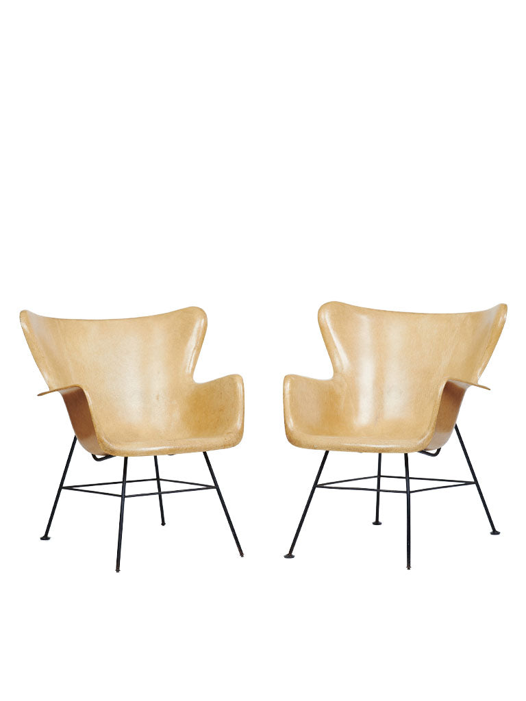 Pair Of Mid-Century Modern Lawrence Peabody Wingback Chairs