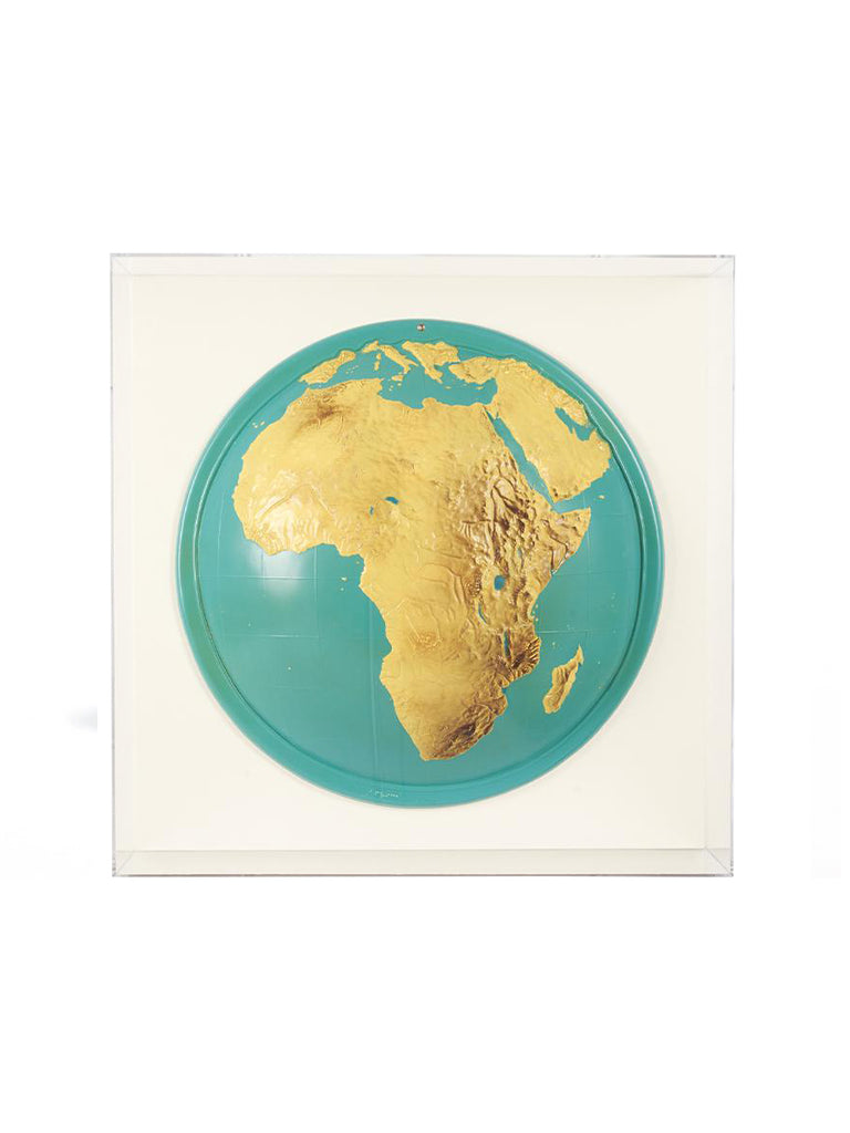 Lucite-Framed Topographical Map of Africa