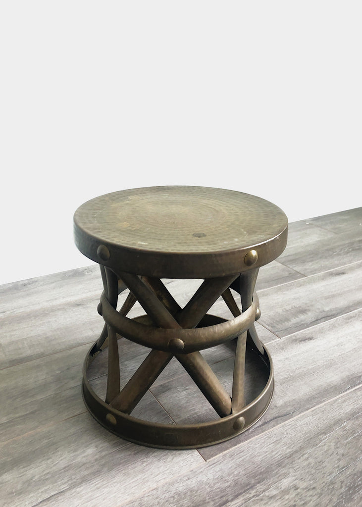1960's Low Brass Drum Side Table