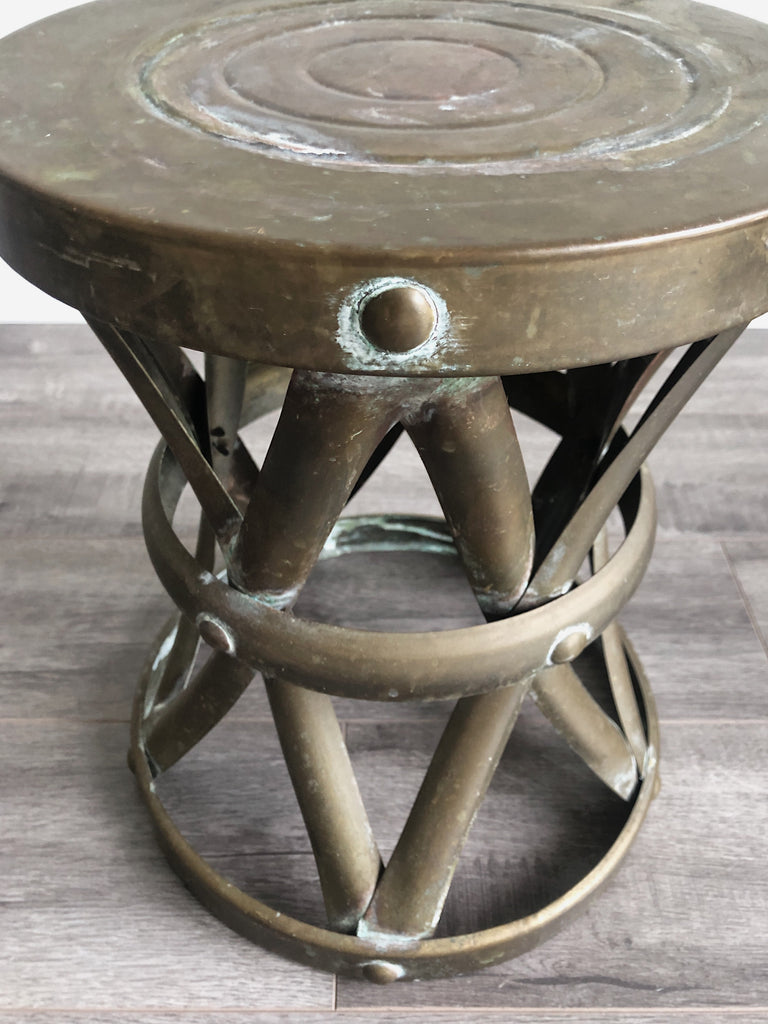 1960's Brass Drum Table