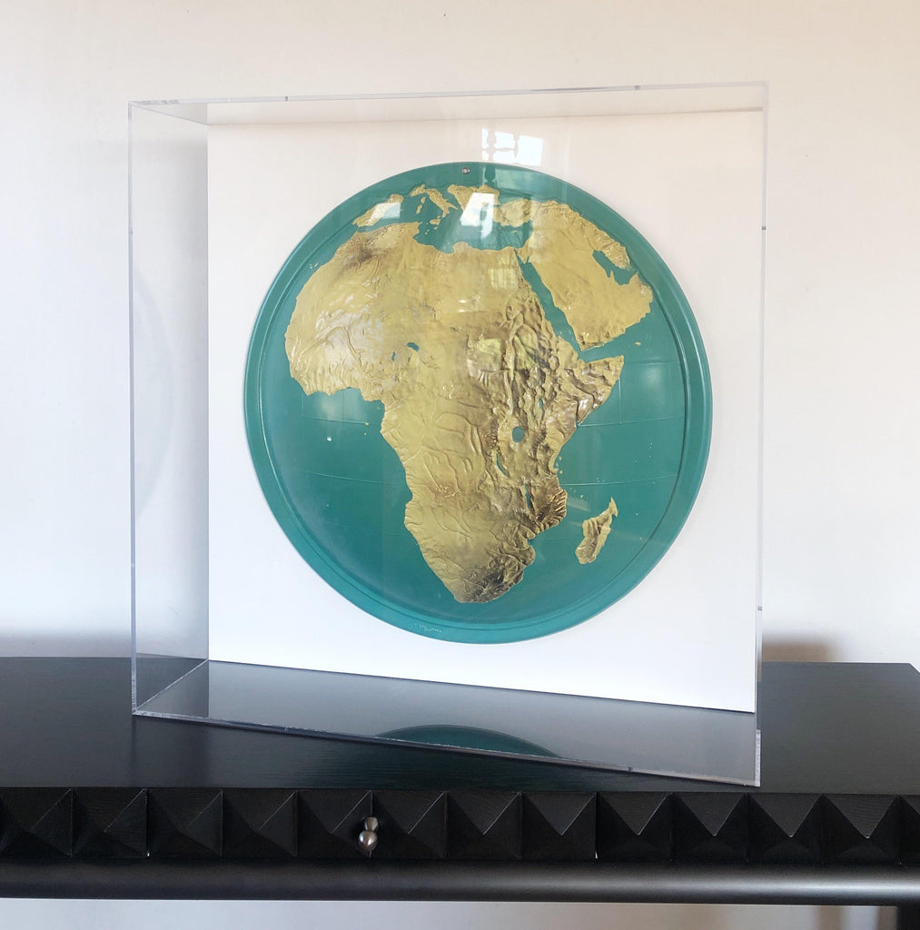 SABIN   Lucite Framed Topographical Map of Africa