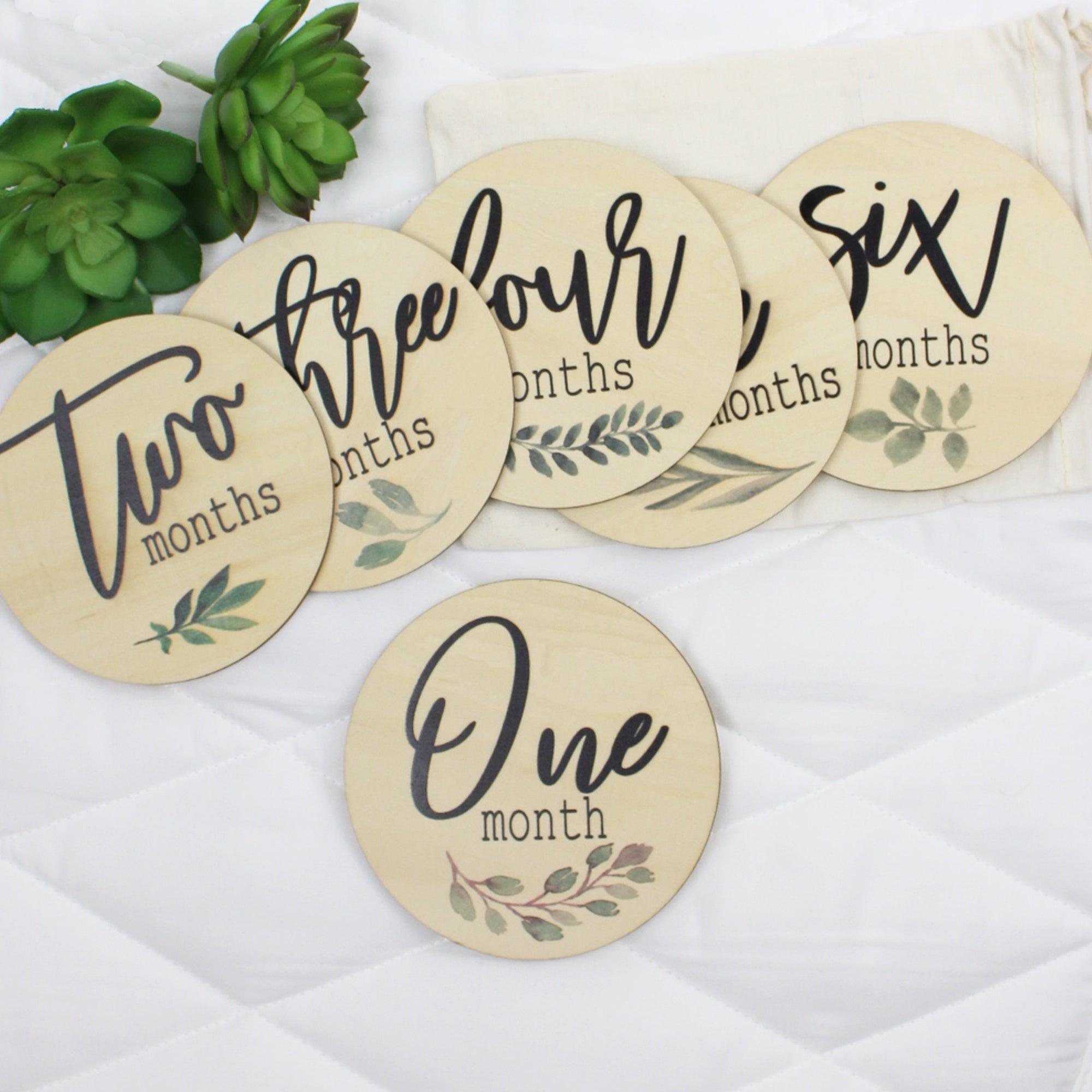 Botanical style milestone cards from Birchmark Designs