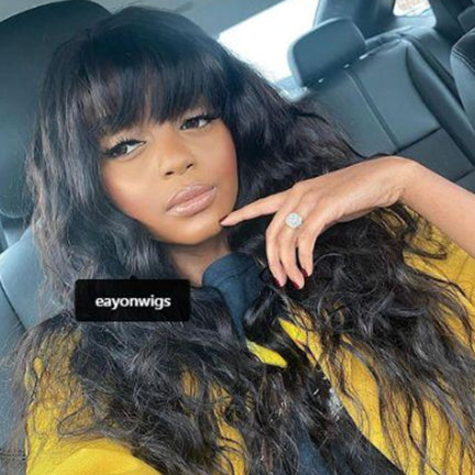 Pre Plucked Body Wave With Bangs 360 Lace Frontal Wig BWB-8