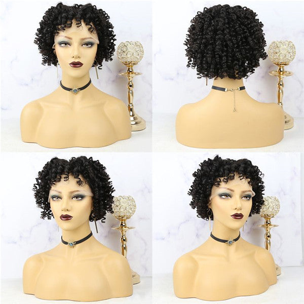 Pre Plucked #1B/Ginger Wand Curl Bob With Bangs 13x6 Lace Front Wig AOBJC-1