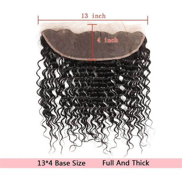 Bundles With 13x4 Lace Frontal Deep Curly Human Hair