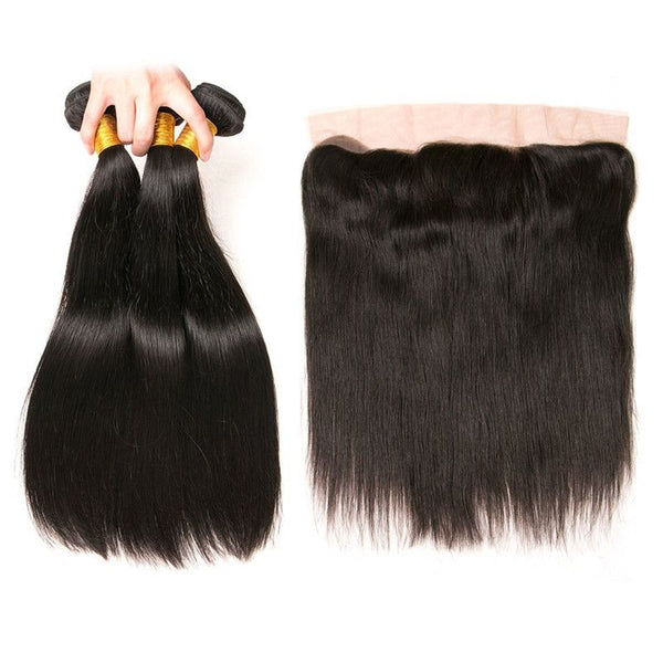 Bundles With 13x4 Lace Frontal Silky Straight Human Hair
