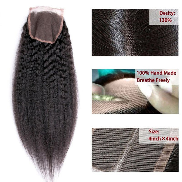 Bundles With 4x4 Lace Closure Kinky Straight Human Hair