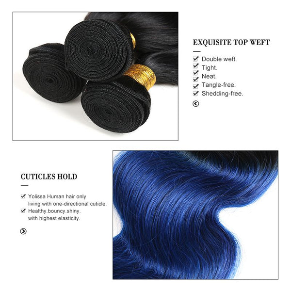 Bundles #1B/Blue Body Wave Human Hair