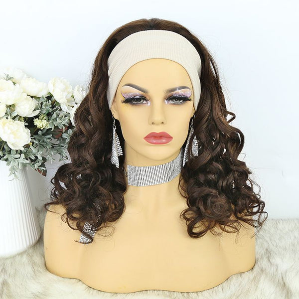 Headband Wig  01 Chocolate Color Human Hair1