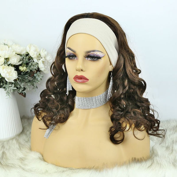 Headband Wig  01 Chocolate Color Human Hair3