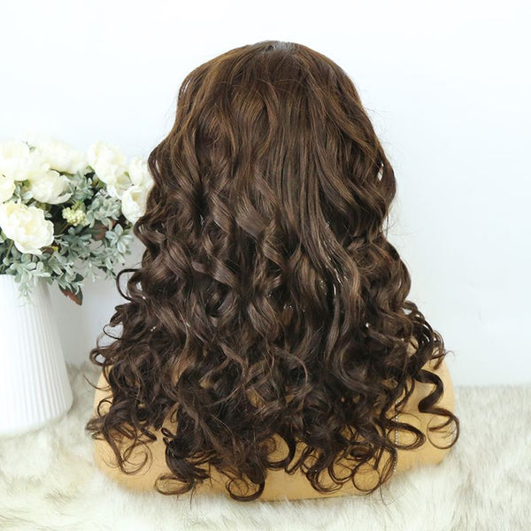Headband Wig  01 Chocolate Color Human Hair4