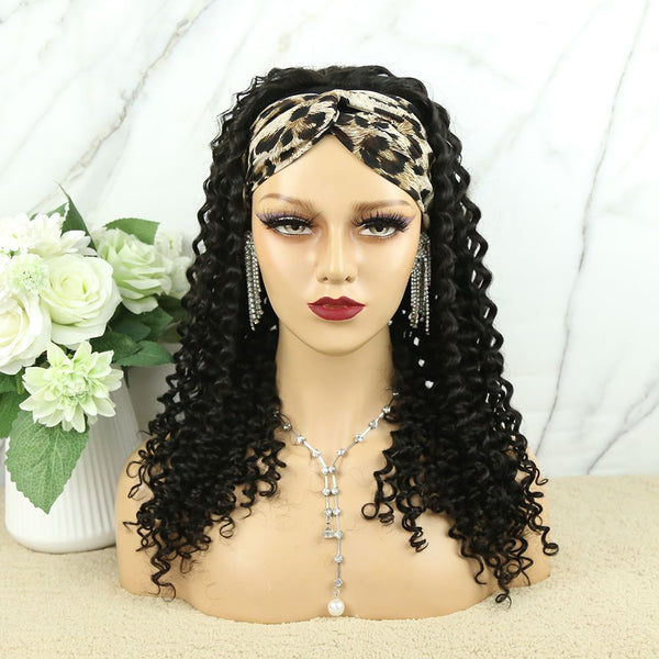 Headband Wig Deep Curly Human Hair review front2