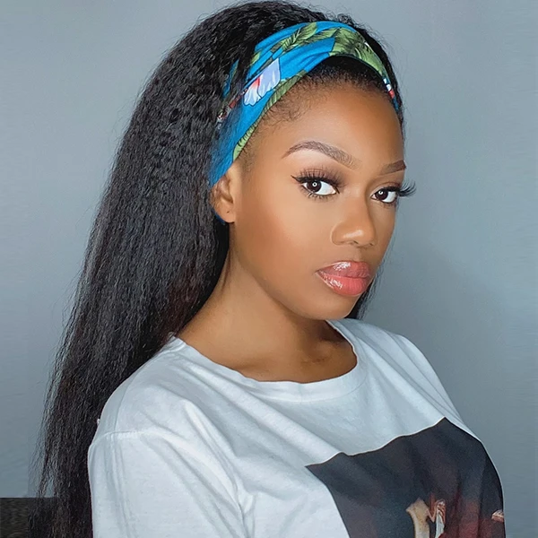 Headband Wig Kinky Straight Human Hair 2