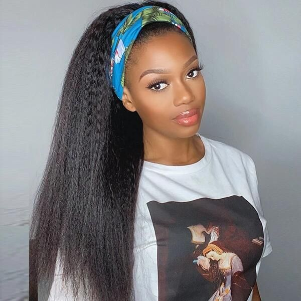 Headband Wig Kinky Straight Human Hair 3