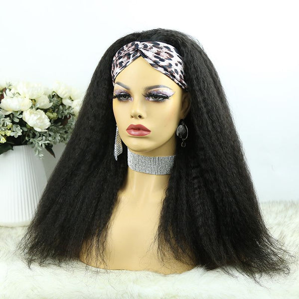 Headband Wig Kinky Straight Human Hair 4