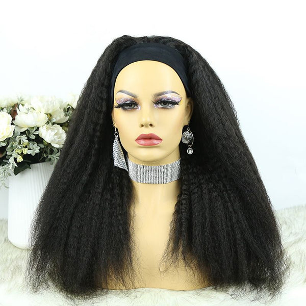 Headband Wig Kinky Straight Human Hair 8