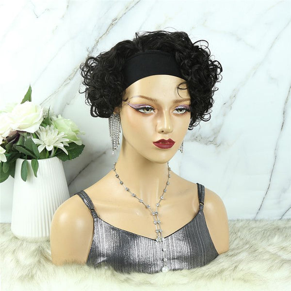 Headband Wig Pixie Cut Wave Human Hair HBP03