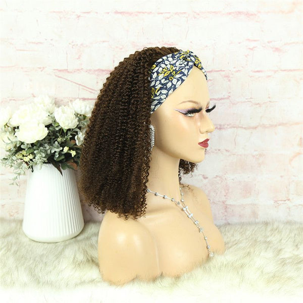 Headband Wig #4 Color 3C4A Kinky Curly Human Hair10