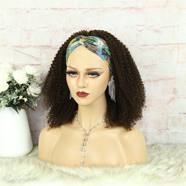 Headband Wig #4 Color 3C4A Kinky Curly Human Hair11