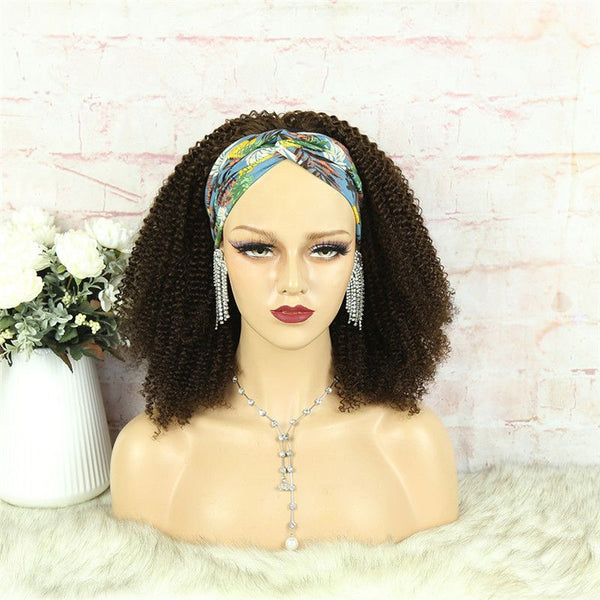 Headband Wig #4 Color 3C4A Kinky Curly Human Hair2
