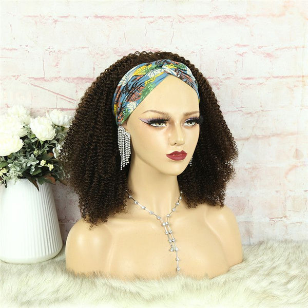 Headband Wig #4 Color 3C4A Kinky Curly Human Hair3