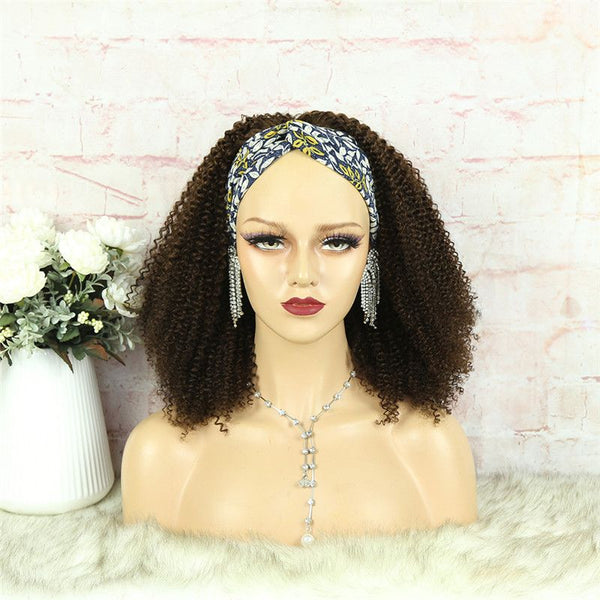 Headband Wig #4 Color 3C4A Kinky Curly Human Hair4